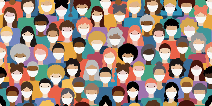 Illustrated image of diverse people's faces wearing masks
