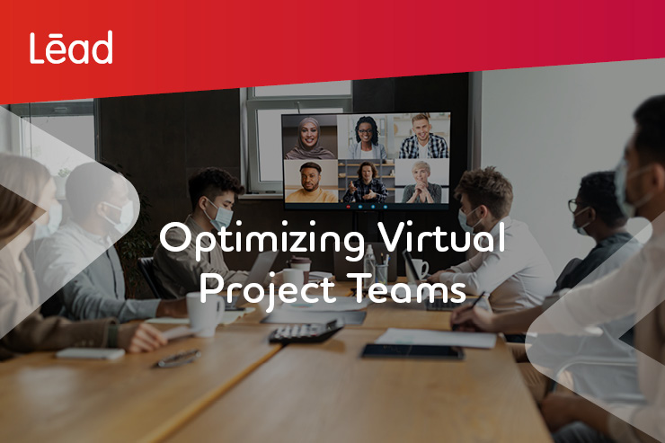 Optimizing Virtual Project Teams. Workers wearing face masks at the office meeting online with their remote colleagues.