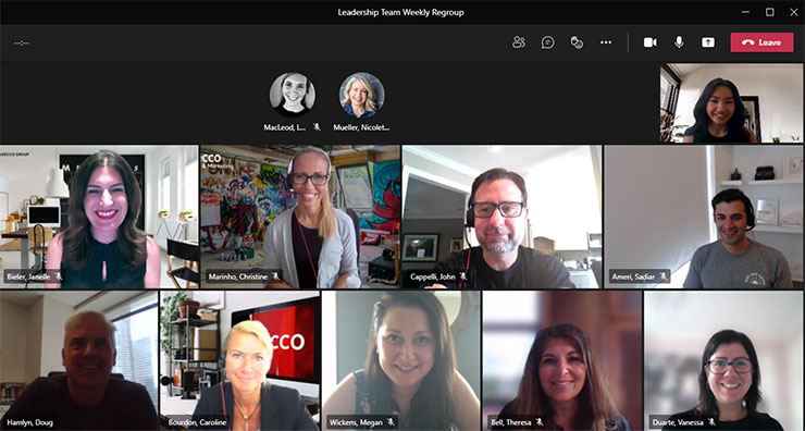Video call with the Canadian Leadership Team