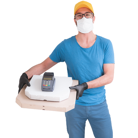 delivery worker in face mask and gloves