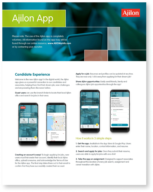 Ajilon App One Pager