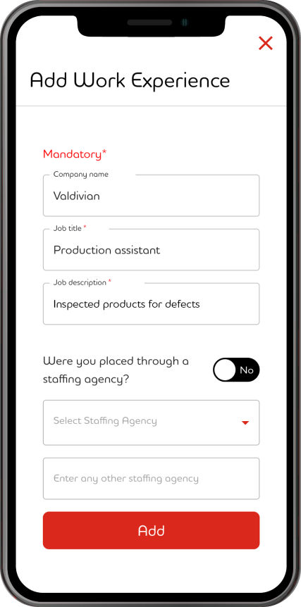 Adecco App screenshot on mobile device