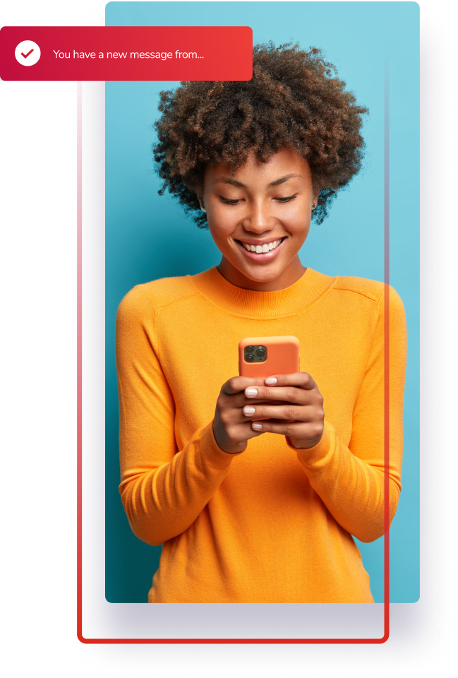 Woman using Adecco App on a mobile device