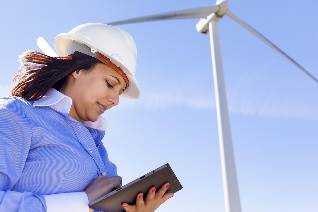 Female engineer wind turbine
