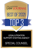 The National Law Journal Best of 2021 Top 3 Legal/Litigation Support Staffing Agency: Special Counsel